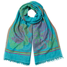 Buy East Flower Stripe Cotton Mix Scarf, Turquoise Online at johnlewis.com
