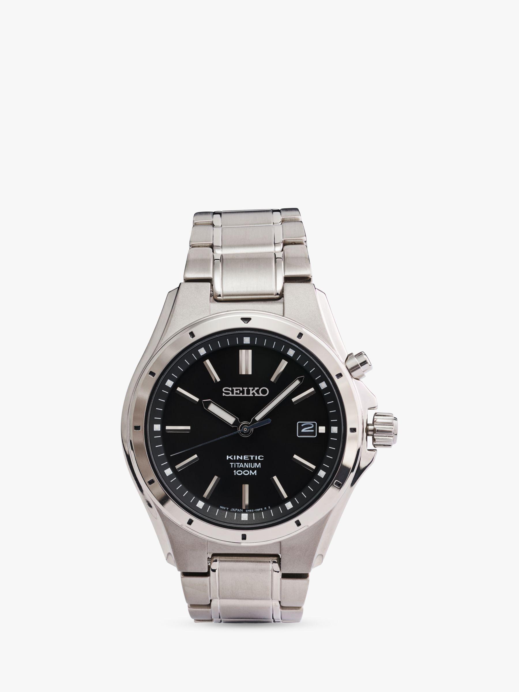 Seiko Seiko Men's Kinetic Date Bracelet Strap Watch, Silver/Black SKA763P1