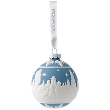 Buy Wedgwood 'Building a Snowman' Bauble, Blue Online at johnlewis.com