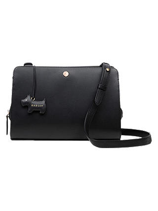 Buy Radley Liverpool Street Leather Medium Cross Body Bag, Black Online at johnlewis.com