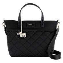 Buy Radley Hilly Fields Quilted Fabric Medium Grab Bag, Black Online at johnlewis.com