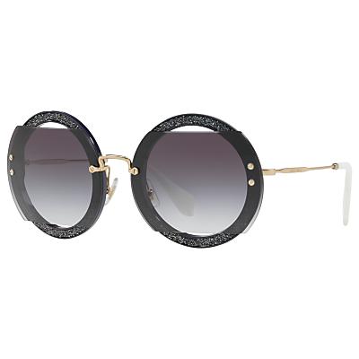 Miu Miu MU 06SS Round Beaded Sunglasses, Grey
