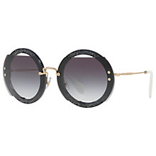 Buy Miu Miu MU 06SS Round Beaded Sunglasses, Grey Online at johnlewis.com