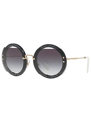 Miu Miu MU 06SS Round Beaded Sunglasses, Grey