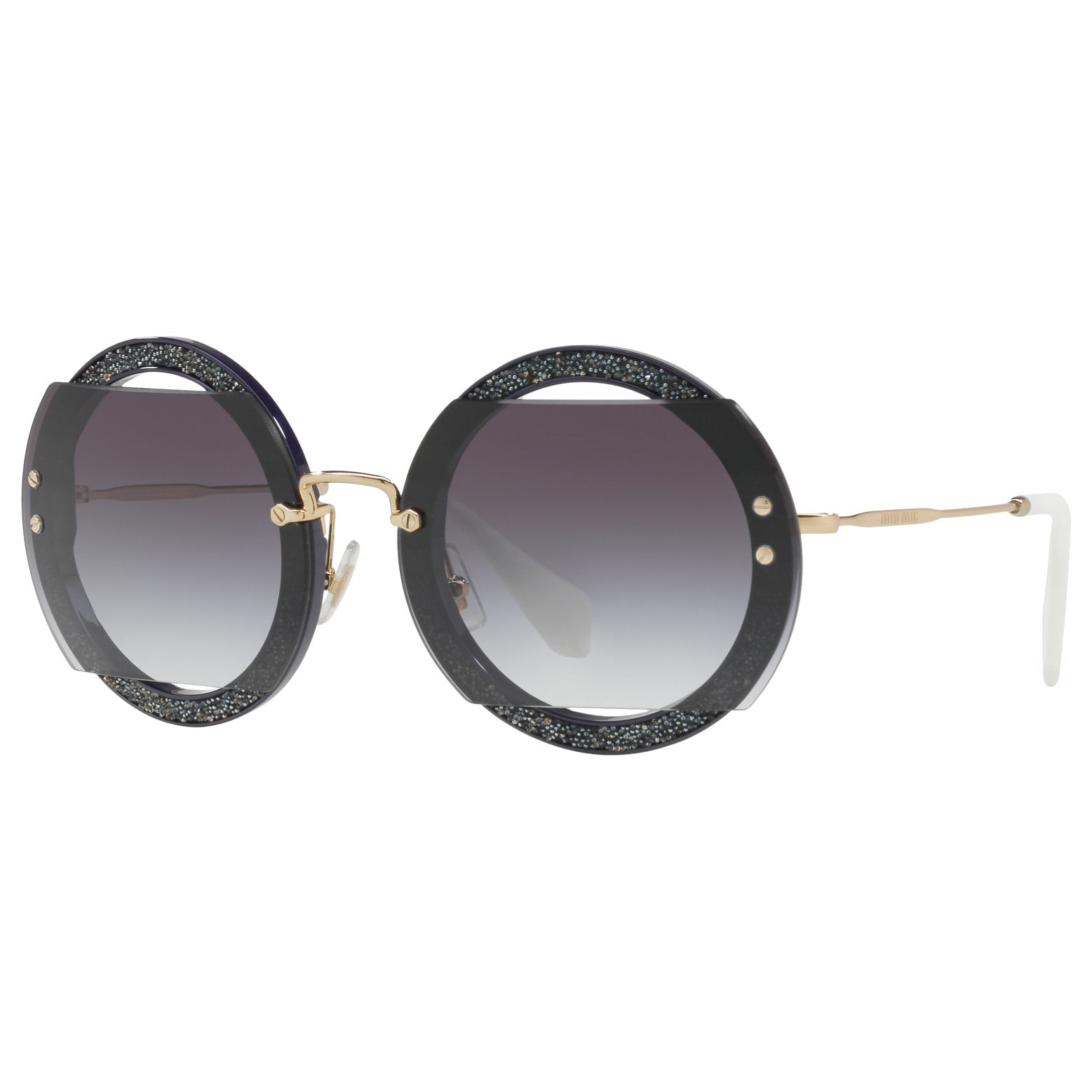 Miu Miu Miu Miu MU 06SS Round Beaded Sunglasses, Grey