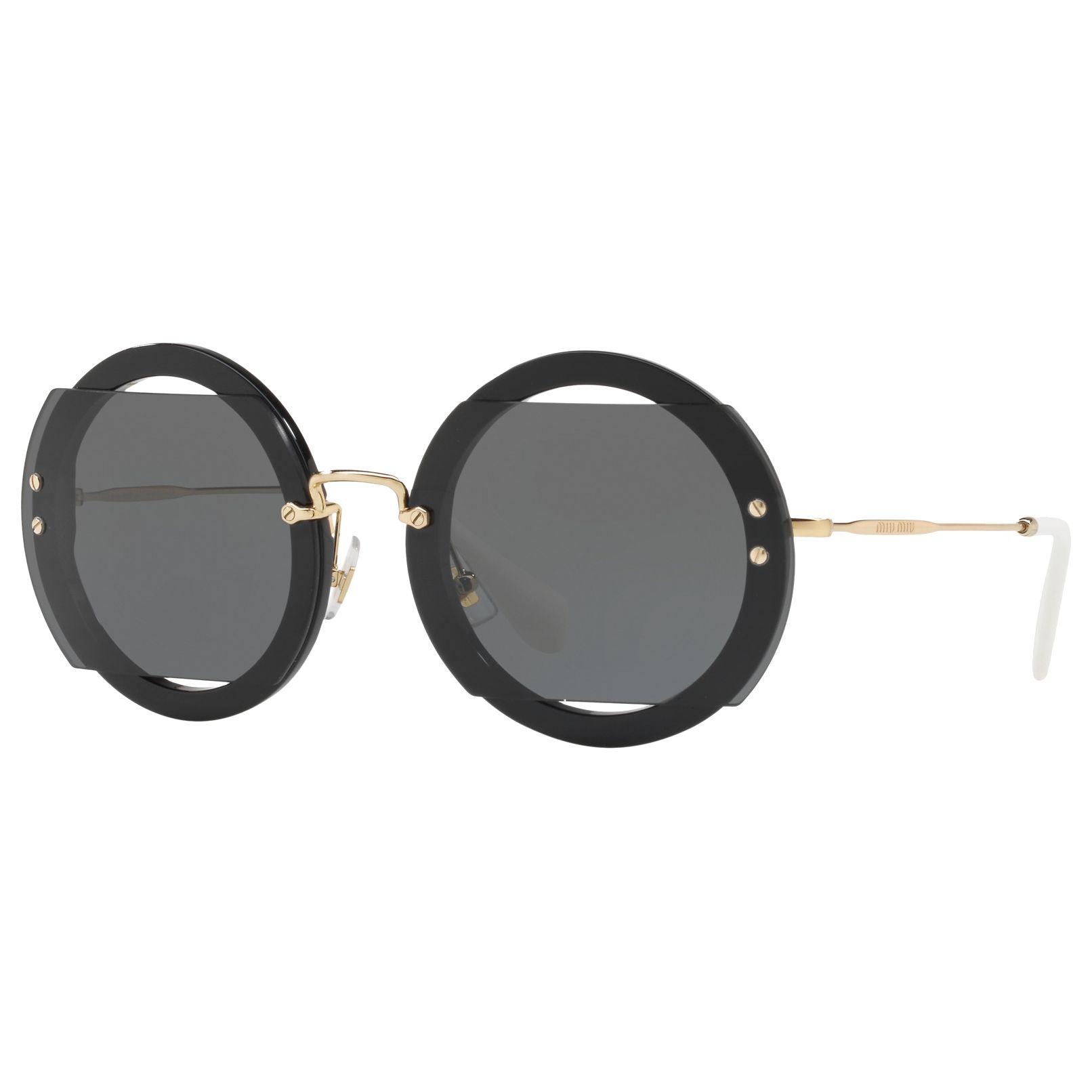 Miu Miu Miu Miu MU 06SS Round Sunglasses, Black