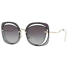 Buy Miu Miu MU 54SS Square Sunglasses, Grey Online at johnlewis.com