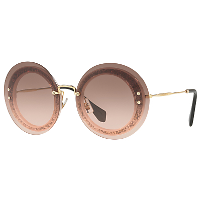 Miu Miu MU 10RS Round Sunglasses, Gold/Pink Gradient