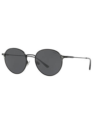 Buy Polo Ralph Lauren PH3109 Oval Sunglasses, Black/Grey Online at johnlewis.com