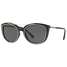 Buy Versace VE4336 Cat's Eye Sunglasses, Black/Grey Online at johnlewis.com