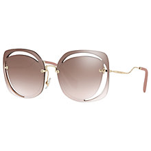 Buy Miu Miu MU 54SS Square Sunglasses, Brown/Gold Online at johnlewis.com