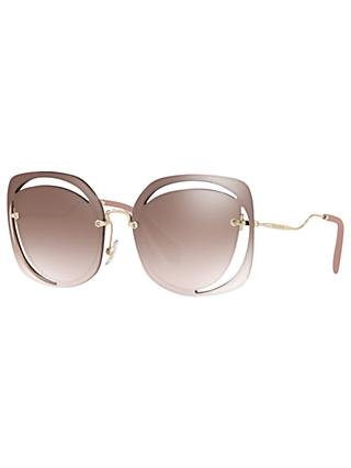Miu Miu MU 54SS Square Sunglasses, Brown/Gold