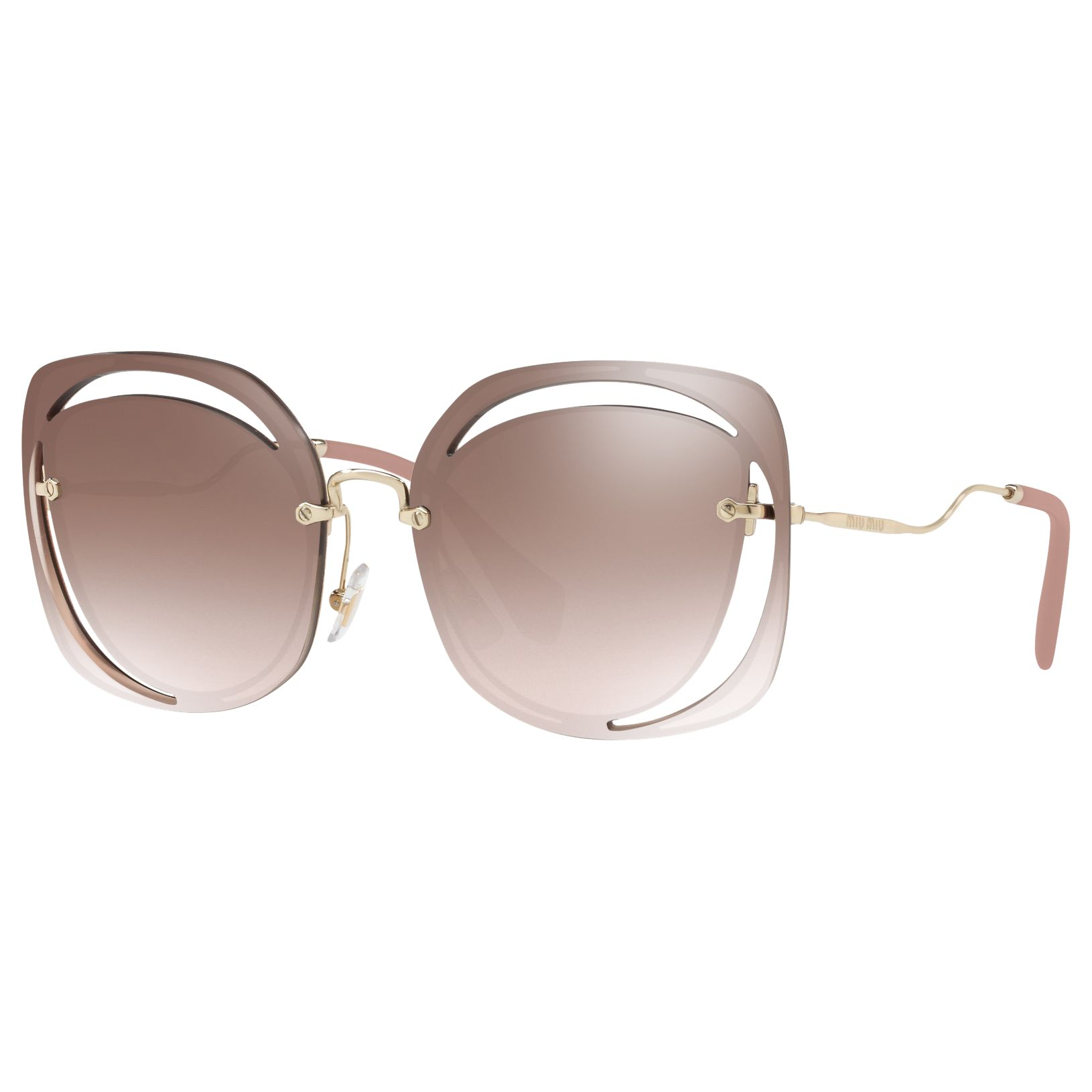Miu Miu Miu Miu MU 54SS Square Sunglasses, Brown/Gold