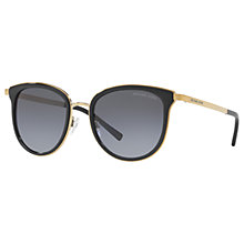 Buy Michael Kors MK1010 Adrianna Polarised Oval Sunglasses, Black/Grey Gradient Online at johnlewis.com