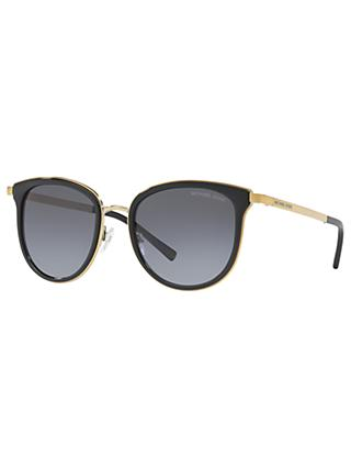 Michael Kors MK1010 Adrianna Polarised Oval Sunglasses, Black/Grey Gradient