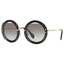 Buy Miu Miu MU 06SS Round Beaded Sunglasses, Black Online at johnlewis.com