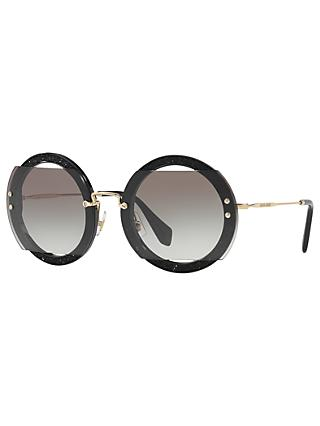 Miu Miu MU 06SS Round Beaded Sunglasses, Black
