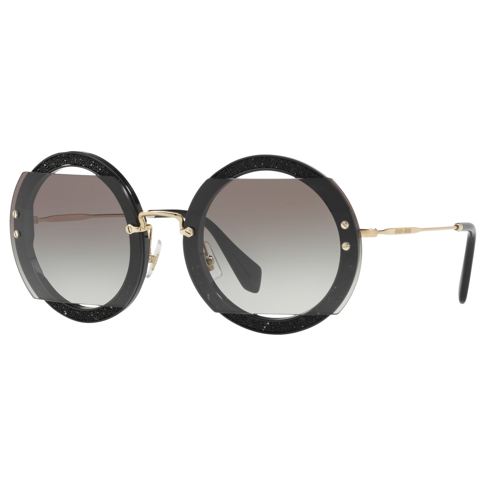 Miu Miu Miu Miu MU 06SS Round Beaded Sunglasses, Black