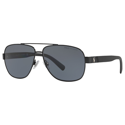 Product photo of Polo ralph lauren ph3110 polarised aviator sunglasses black grey