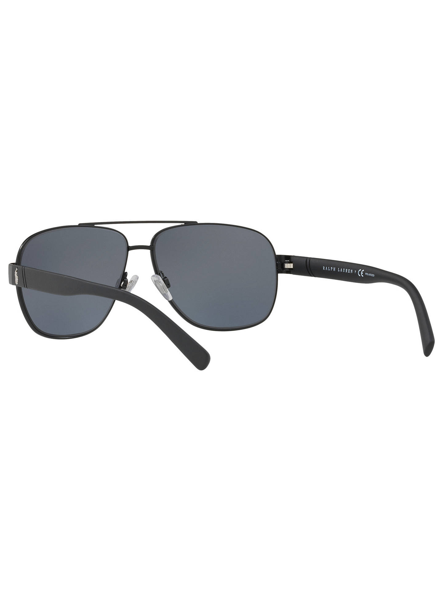 BuyPolo Ralph Lauren PH3110 Men's Polarised Aviator Sunglasses, Black/Grey Online at johnlewis.com