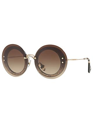 Miu Miu MU 10RS Round Sunglasses, Havana/Brown Gradient