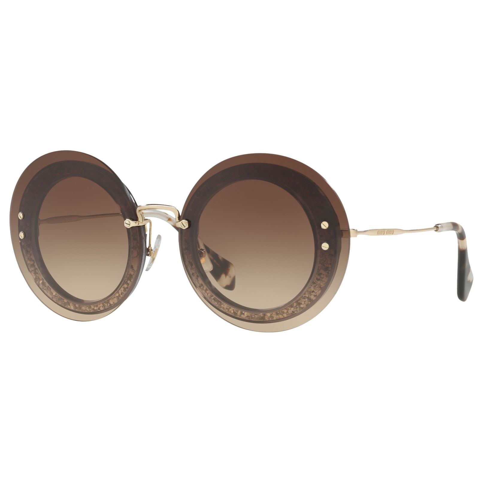 Miu Miu Miu Miu MU 10RS Round Sunglasses, Havana/Brown Gradient