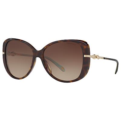 Tiffany & Co TF4126B Embellished Cat's Eye Sunglasses, Tortoise/Brown Gradient