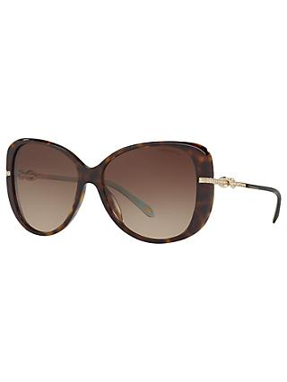 Tiffany & Co TF4126B Embellished Cat's Eye Sunglasses, Tortoise/Brown Gradient