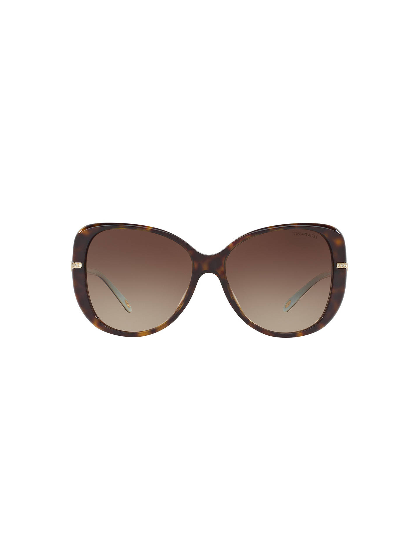 Buy Tiffany & Co TF4126B Embellished Cat's Eye Sunglasses, Tortoise/Brown Gradient Online at johnlewis.com