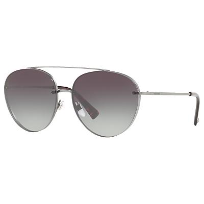 Valentino VA2009 Aviator Sunglasses, Silver/Grey Gradient
