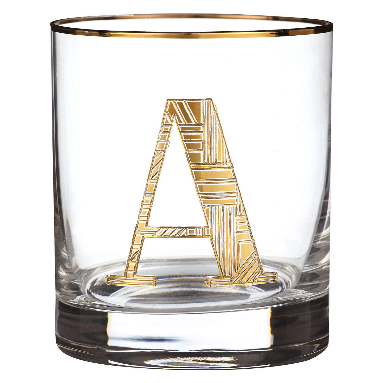 Anthropologie Gilded Monogram Glass Tumbler 443ml At John