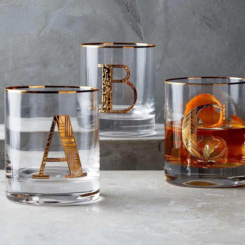Gilded Monogram Glass Anthropologie