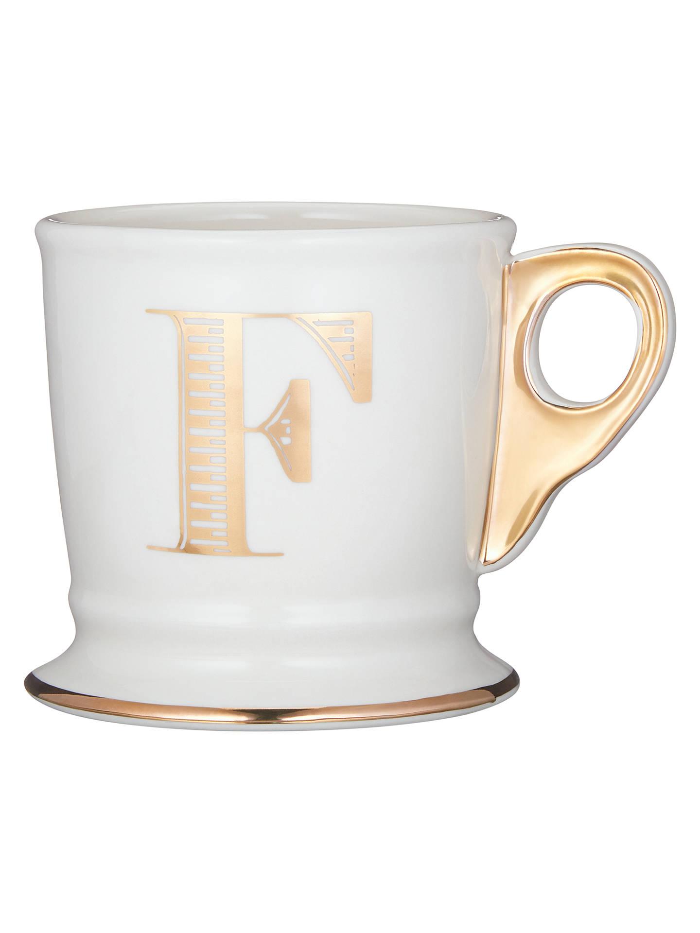 anthropologie gold monogram mug 384ml at john lewis partners