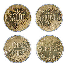 Buy Anthropologie Hammered Brass Coasters, Gold, Dia.10.6cm, Set of 4 Online at johnlewis.com