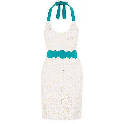 Anthropologie Leah Goren Cat Study Apron, White/Multi
