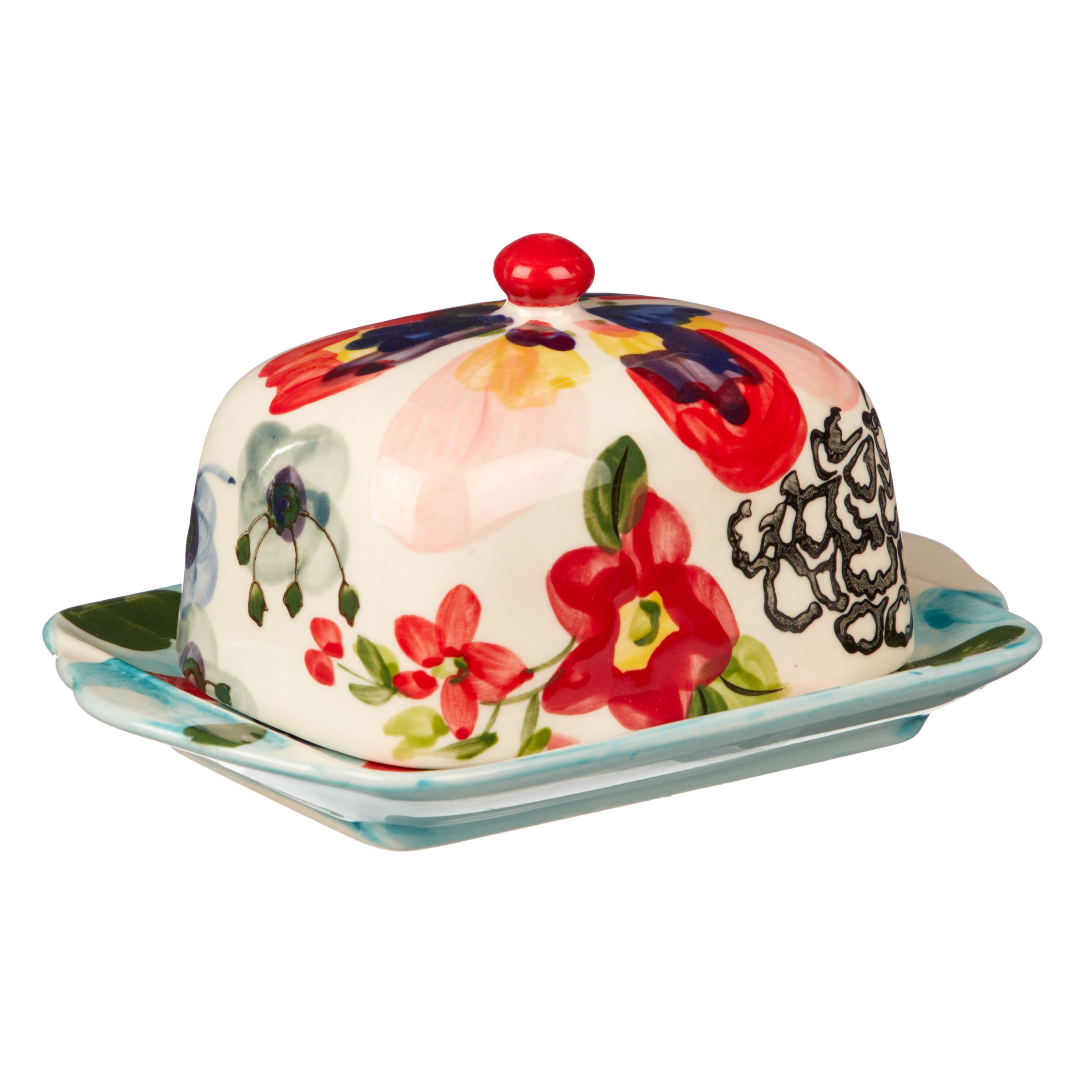 Anthropologie Painted Amaryllis Butter Dish | Bluewater | £18.00