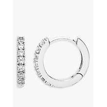 Buy Estella Bartlett Cubic Zirconia Pave Set Hoop Earrings, Silver Online at johnlewis.com