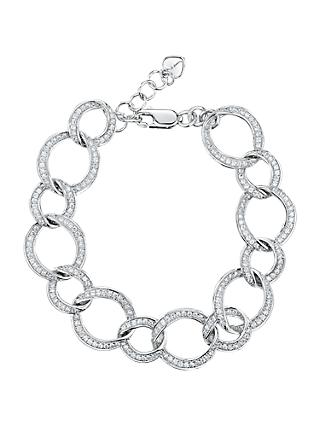 Jools by Jenny Brown Cubic Zirconia Open Work Link Bracelet, Silver