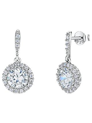 Jools by Jenny Brown Cubic Zirconia Round Drop Earrings, Silver