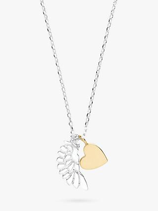 Estella Bartlett Wing and Heart Pendant Necklace, Silver/Gold
