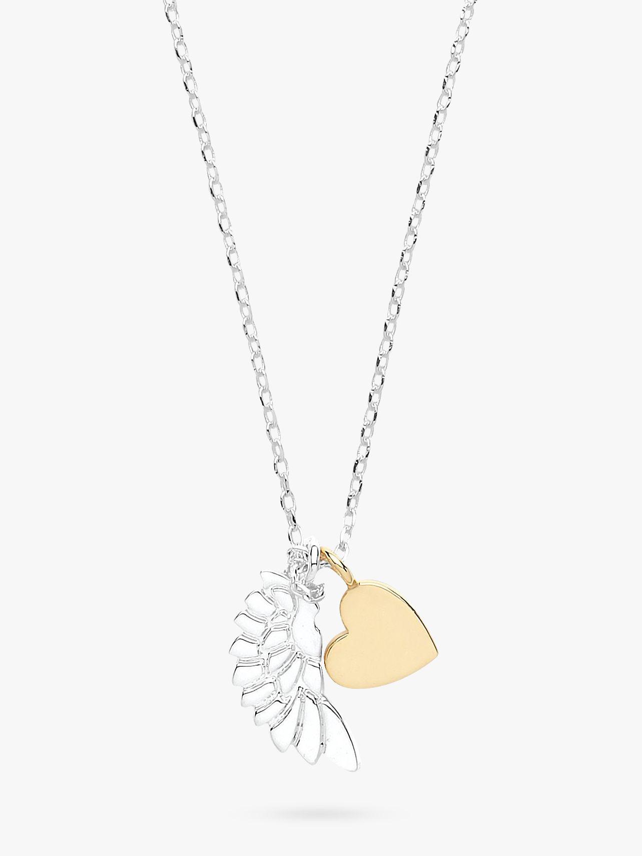 Estella Bartlett Estella Bartlett Wing and Heart Pendant Necklace, Silver/Gold