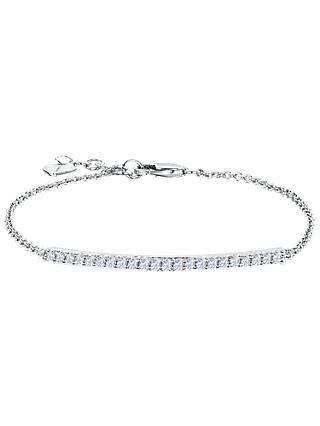Jools by Jenny Brown Cubic Zirconia Bar Chain Bracelet, Silver