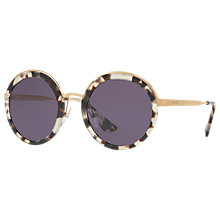 Buy Prada PR 50TS Round Sunglasses, Havana/Purple Online at johnlewis.com