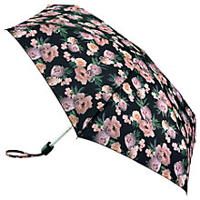 Buy Fulton Tiny 2 Rococo Rose Print Umbrella, Black/Pink Online at johnlewis.com