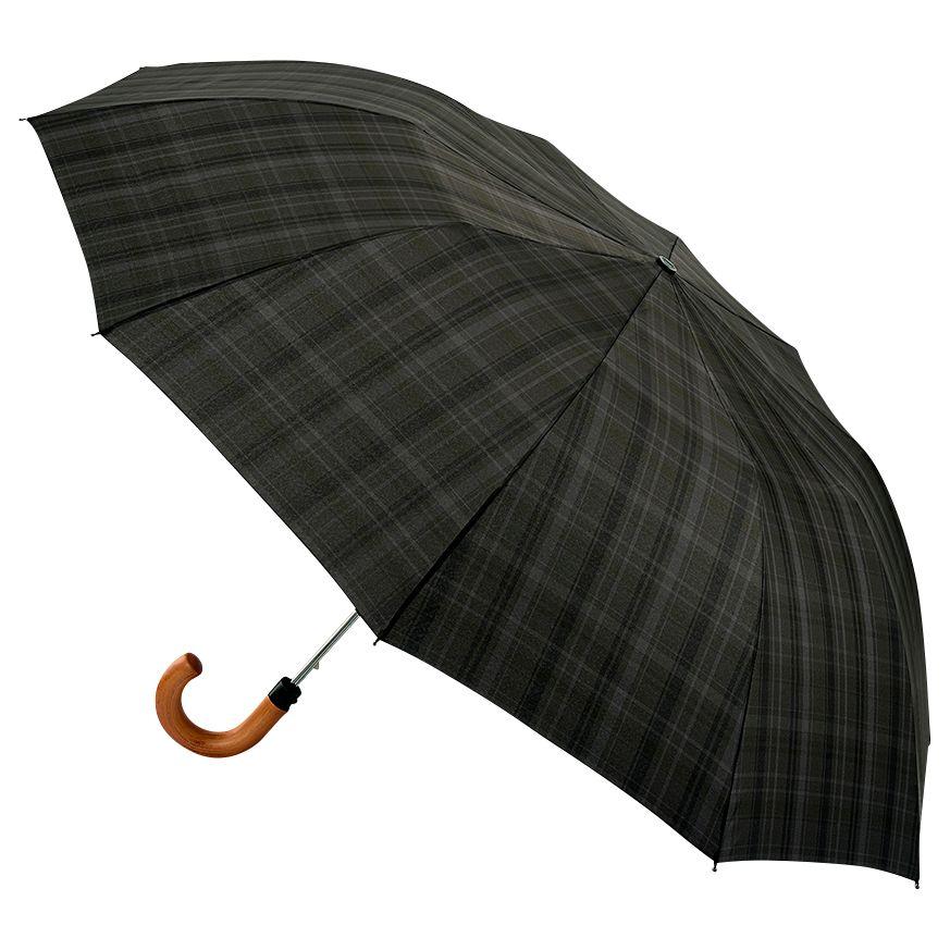 Fulton Fulton Dalston Check Umbrella, Charcoal