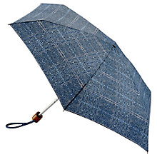 Buy Fulton Tiny Tweed Folding Umbrella, Blue Online at johnlewis.com