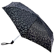 Buy Fulton Tiny Luxury Leopard Folding Umbrella, Black Online at johnlewis.com