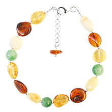 Buy Goldmajor Sterling Silver Amber and Jade Beaded Bracelet, Multi Online at johnlewis.com