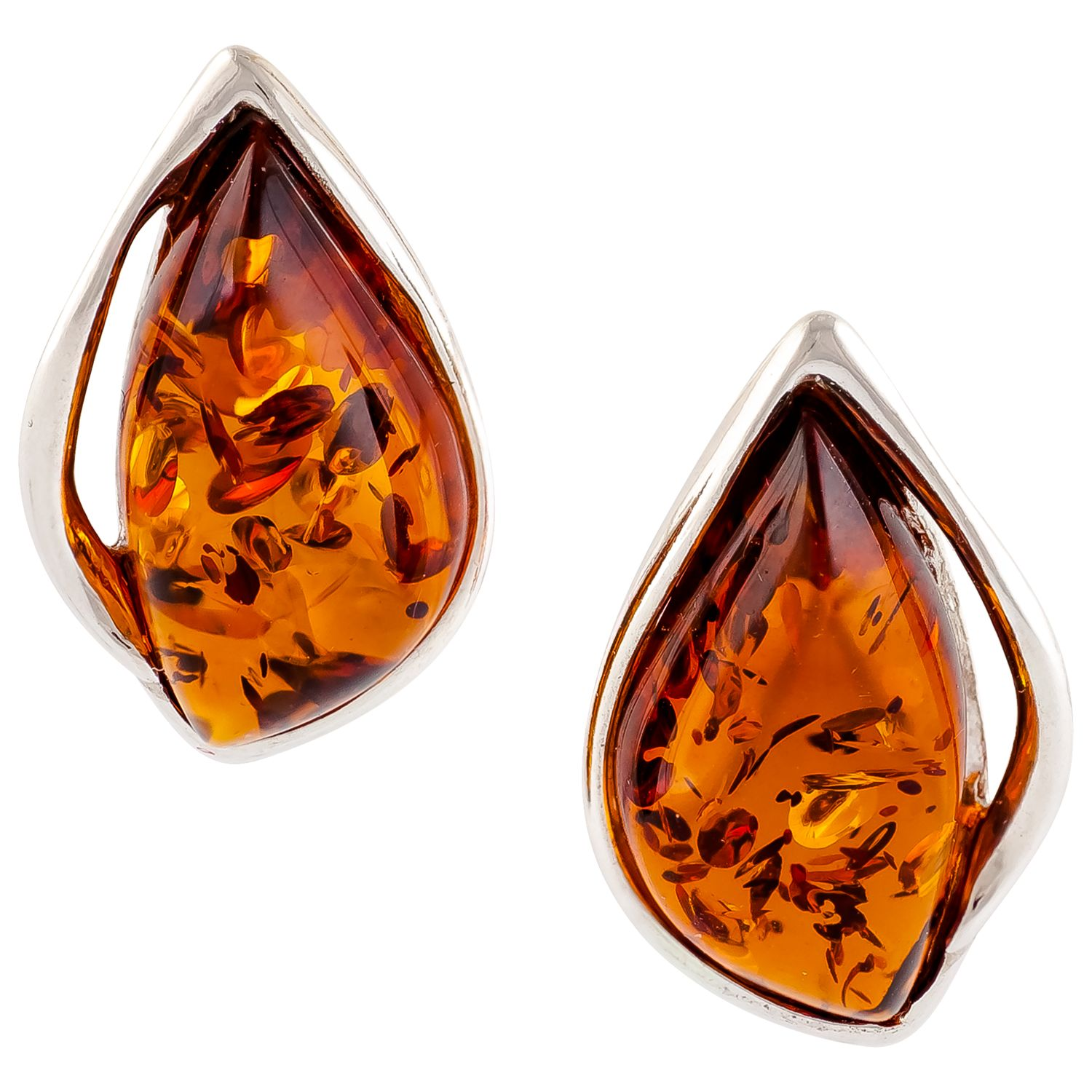 Be-Jewelled Be-Jewelled Amber Sterling Silver Stud Earrings, Cognac