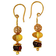 Buy Goldmajor Gold Plated Amber Bead Drop Earrings, Gold/Multi Online at johnlewis.com